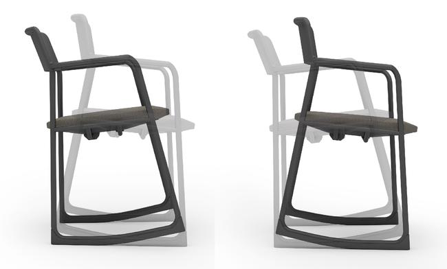 写真:ソリ脚(左:後傾、右:前傾)