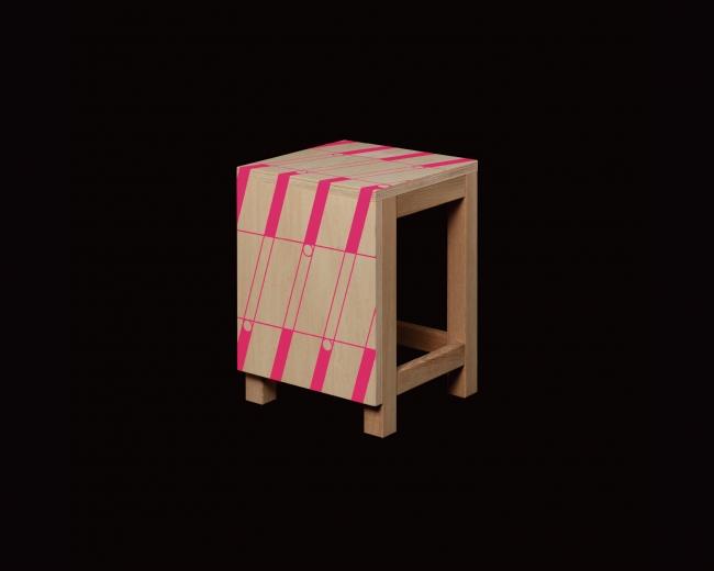 図工椅子(PAINTED NEON COLOR)/遊び心溢れるネオンペイントの図工椅子