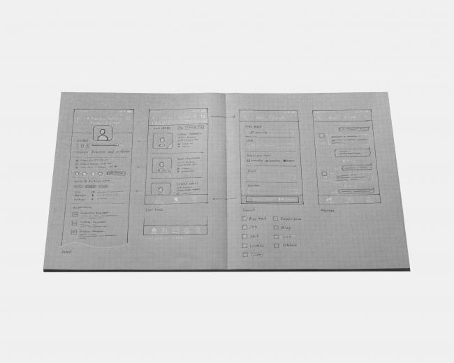 PC画面等を意識した見開き時16:10の特殊サイズ。フラットに開くことができる製本法を採用し、アイデアをまとめたり発散するのにも便利。