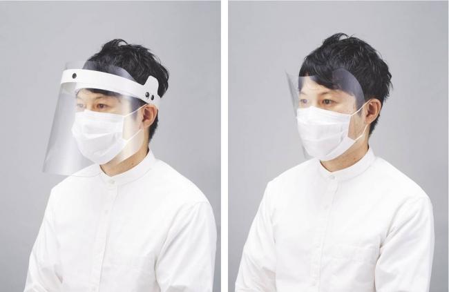 「簡易フェイスシールド」(左)ヘッドギアタイプ、(右)マスク装着タイプ