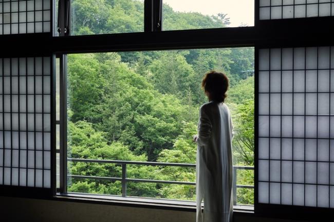 窓から望む渓谷の景色