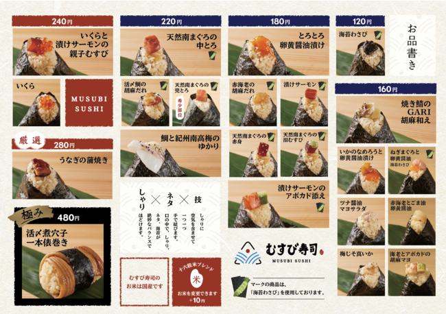 「むすび寿司」メニュー表