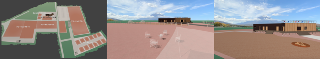 左からサイトマップ/富士山を望むサイトイ/管理棟・焚火広場イメージ