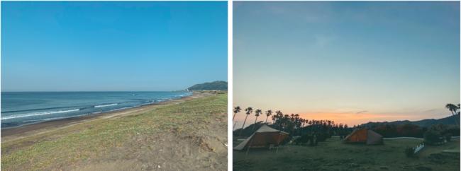 左 サーフィンで有名な平砂浦海岸 /右 場内の様子