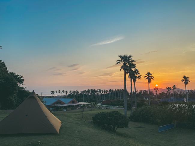 キャンプサイト(元パークゴルフ場)からの夕陽