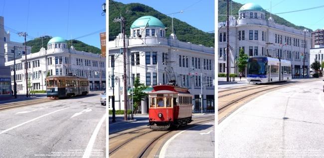 函館市街地を走る新旧さまざまな路面電車