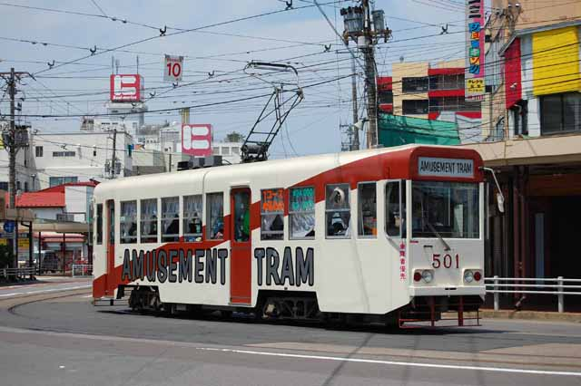 「函館スイーツ電車」の運行車両として使われる「アミューズメントトラム501号車」