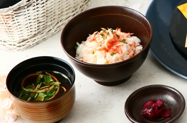 ▲桜海老と竹の子の炒め御飯は口の中で春の味わいが広がります