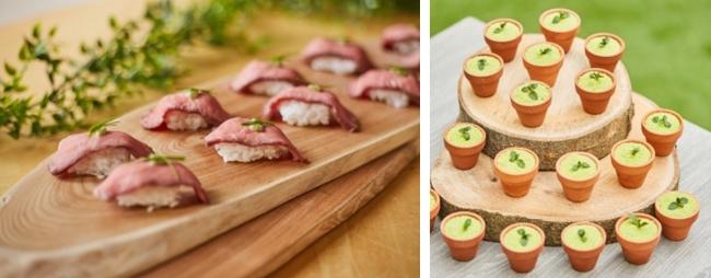 (左)牛肉炙り寿司 (右)宇治抹茶のティラミス