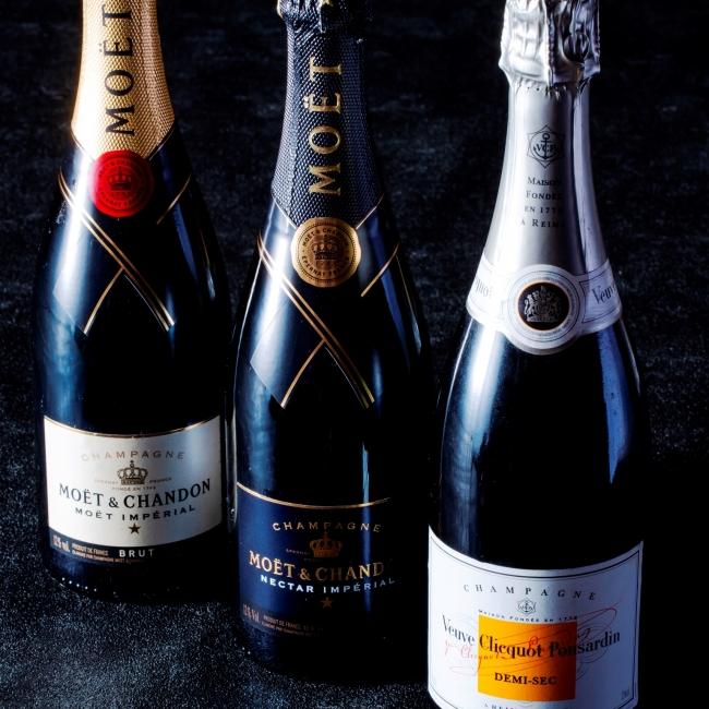 ▲高級シャンパンとのマリアージュをお楽しみください