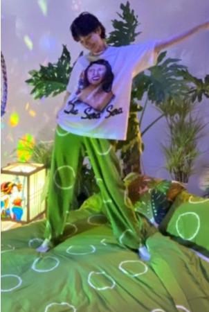 ■SET UP 「HIKARI MOON GREEN」(green cream) ■BED COVER SET 「HIKARI MOON GREEN」(green cream)