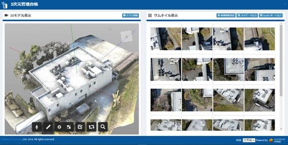 Pix4Dmapperで作成した3Dモデルの表示例