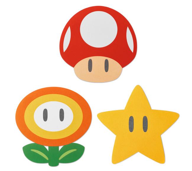 メッセージカード:スーパーキノコ、ファイアフラワー、スーパースター各1枚