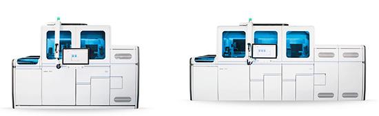 全自動遺伝子検査装置「コバス 6800 システム」(左) 「コバス 8800 システム」(右)