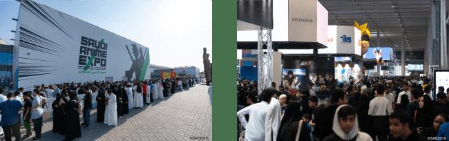 写真左:イベント会場外観、右:イベント会場内