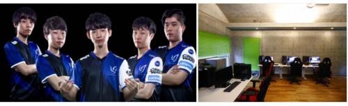 →写真左:Crest Gaming所属選手(左から:Nap選手、Yoshi選手、Aria選手、Gango選手、Grendel選手)/写真右:Crest Gamingゲーミングハウス