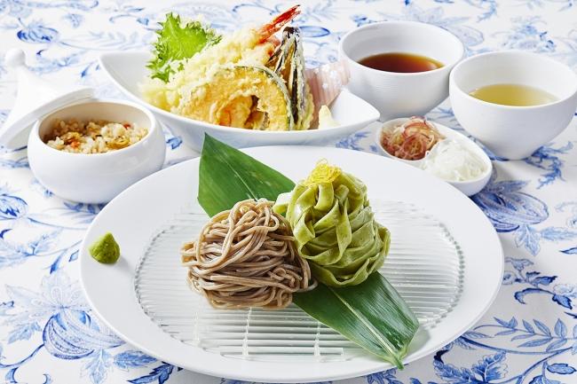 小松菜うどんと蕎麦の天せいろ 浅利ご飯付き