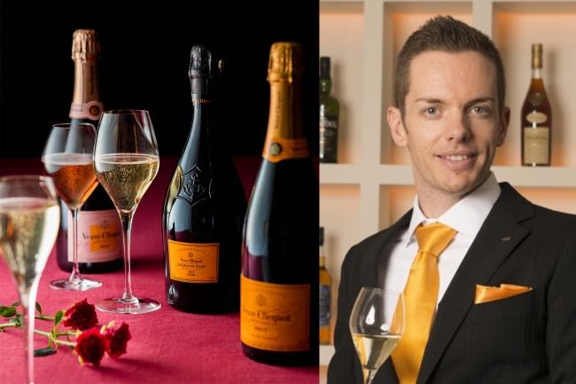 (写真左より:ヴーヴ・クリコ シャンパンイメージ、ブランドアンバサダー ティモシー・ベック氏)