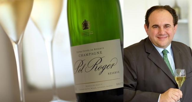 (写真左より:「ポル・ロジェ」シャンパンイメージ、  ブランドアンバサダー ユベール・ド・ビイ氏、  )