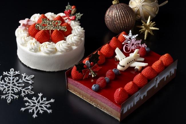 写真:左ークリスマスケーキ(左)・右ーピスト・ド・ノエル(大)