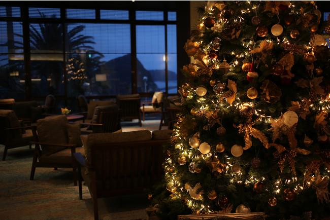 本物のモミの木のツリーが飾られた下田東急ホテルのロビー、星も煌めく静かな海辺のクリスマスです