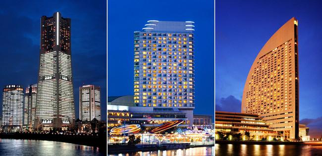 左から「横浜ロイヤルパークホテル」「横浜ベイホテル東急」「ヨコハマ グランド インターコンチネンタル ホテル」