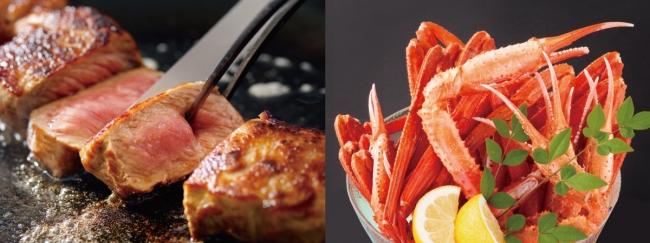 (左)牛ロースステーキ (右)ボイル蟹