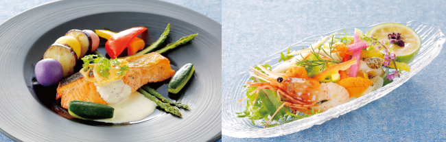 (左)時鮭の発酵バタームニエル 夏野菜添え (右)お刺身カルパッチョ