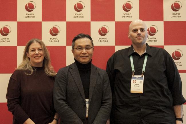 左からNeurotrackのCEO Elli Kaplan、当社社長の大場、Binah.aiのCEO David Maman
