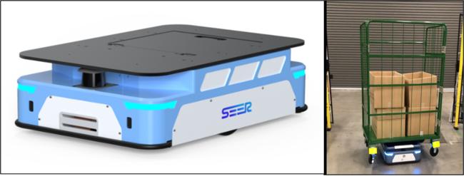 AMB-J:人と共存可能、無人で重量物からカゴ車まで搬送可能