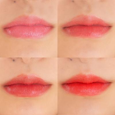 左上:ピンク、右上:コーラルピンク、 左下:レッド、右下:オレンジ