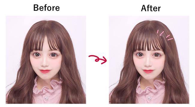 「前髪レタッチ機能」