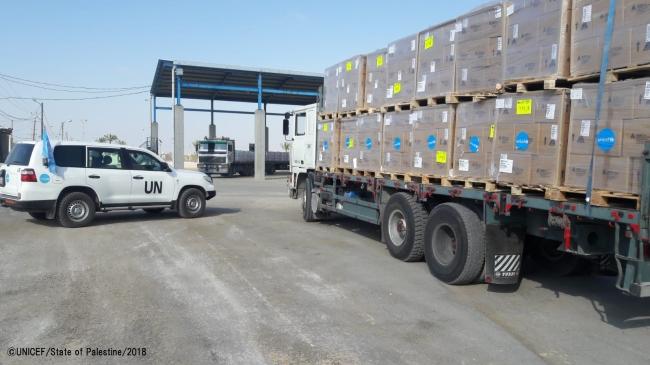 トラックでガザに届けられた医療物資。(C) UNICEF_State of Palestine_2018