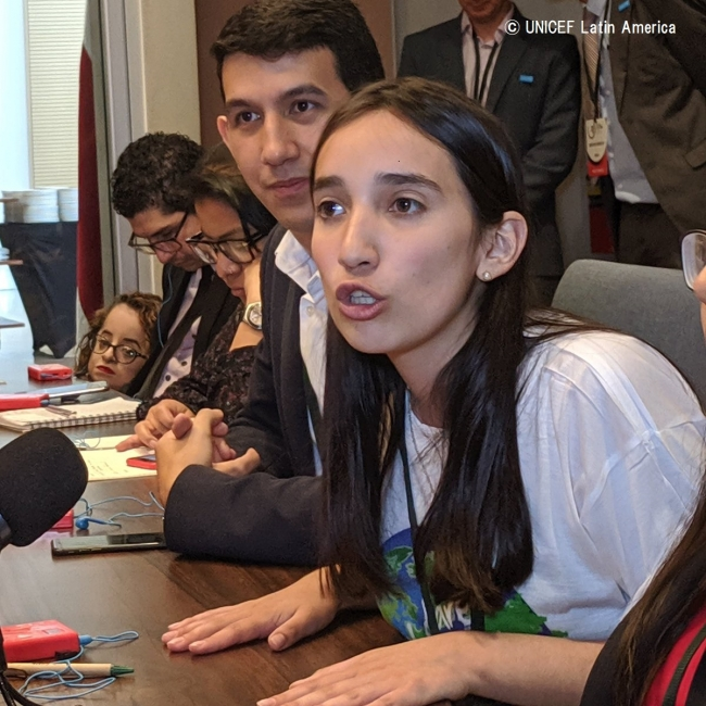 チリの若い気候活動家カタリナ・シルバさん。(2019年10月8日撮影) (C) UNICEF Latin America