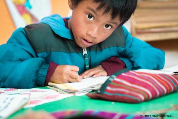 グアテマラの学校で勉強する先住民の6歳の男の子。(2019年10月撮影)※本文との直接の関係はありません © UNICEF_UNI235488_Willocq