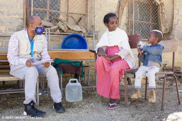 ユニセフの緊急栄養補給プログラムを受ける3歳のミルンちゃん。(2021年1月撮影) (C) UNICEF_UN0409572_Leul Kinfu
