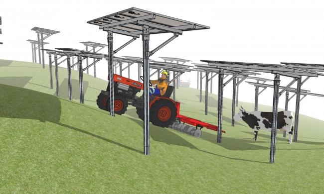新たに開発された営農型太陽光発電向け架台