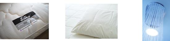 【左から】シルキーレム、快眠機能枕、シャワー