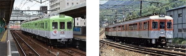 (左)5月デビューの1151編成 (右)今回デビューの1357編成(イメージ)※写真は過去のデ1100形のものです。