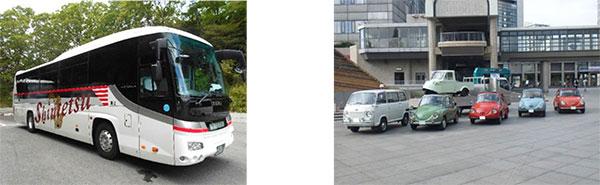 (左)「90周年記念デザイン」ラッピングバス     (右)レトロカー展示(イメージ)