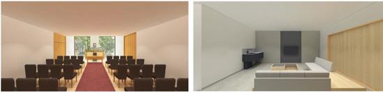 【左】家族葬向けホール(イメージ) 【右】洋室の親族控室(イメージ)