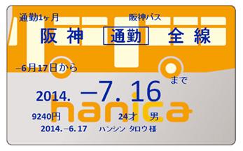 定期 代 阪神 電車