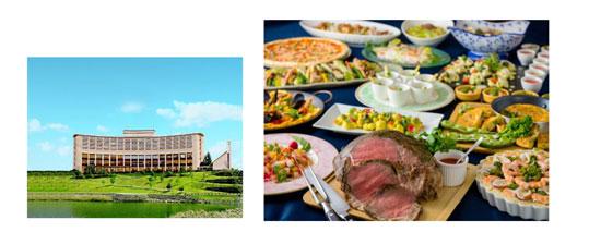 (左)三田ホテル (右)ブッフェレストラン「トレシェーナ」のディナー
