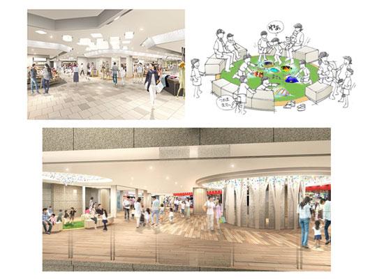 (左上)阪急三番街 北館1階  リニューアルイメージ (右上)阪急三番街 北館地下1階の「ふれあい広場」に設けるレストスペースのイメージ (下)阪急三番街 北館地下1階  リニューアルイメージ
