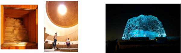 (左)冷風体験 (右)六甲山光のアート「Lightscape in Rokko」