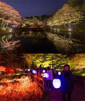 (上)昨年の園内の様子 (下)Glow with Night Garden Project in Rokko 提灯行列ランドスケープ 2016