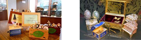 【左】木製からくりオルゴール 【右】宝石箱オルゴール