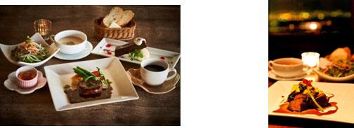 【左】(1)国産黒毛和牛フィレ肉のコース 【右】(2)3種(肉・魚・パスタ)の晩ごはんセット