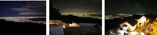 【左から】見晴らしのデッキからの夜景、見晴らしのテラスからの夜景、見晴らしの塔からの夜景
