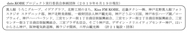 date.KOBEプロジェクト実行委員会参画団体(2019年6月19日現在)